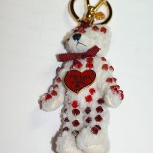 Prada white teddy keychain red crystal new box
